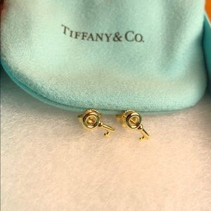 Cute Tiffany and co key earrings 18K gold
